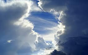 عکس خورشید پشت ابرها در آسمان