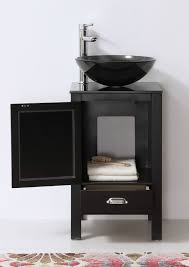 Abel  Inch Black Finish Vessel Sink Bathroom Vanity - Black bathroom vanity with vessel sink