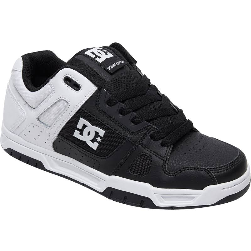 DC Stag 320188 Black Leather & Canvas Athletic Lace Up Skate Shoes
