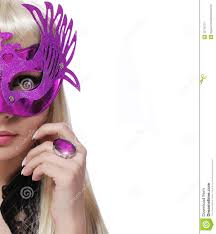 fashion with carnival mask and purple ring over white