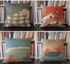 cheap decorative pillows for sofa novelty sleeping rabbit on tree bed fox in boat pattern cushion