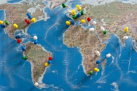Colored World Map by Free Stock Photo 10699 Multi Colored Thumb Tacks Inserted In World
