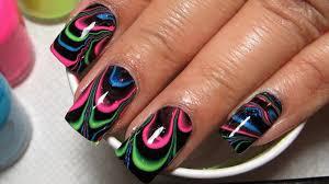 black u0026 neon water marble nail art tutorial water marble march