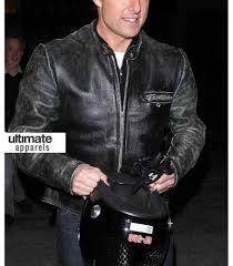 men s moto jacket tom cruise distressed black motorcycle leather jacket