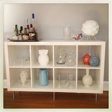my first ikea hack expedit bookshelf into a sideboard bar for my