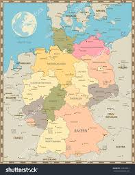 Detailed Map Of Germany by Old Vintage Color Map Germany Vector Stock Vector 422619523