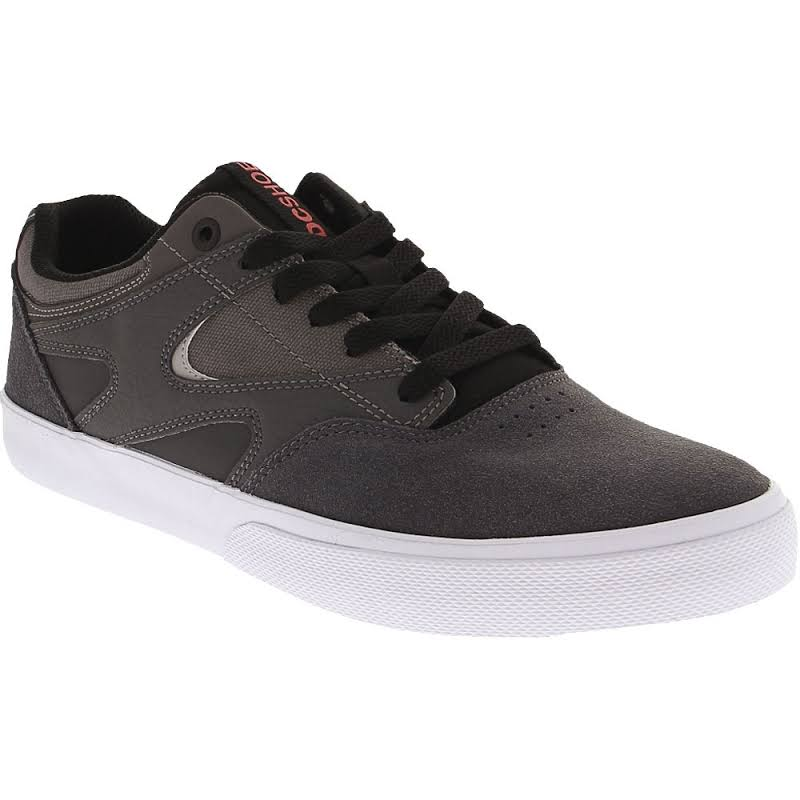 DC Kalis Vulc ADYS300569 Gray Suede Canvas Athletic Lace Up Skate Shoes