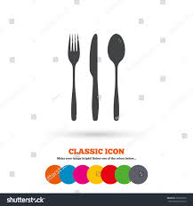 Colorful Kitchen Knives Fork Knife Tablespoon Sign Icon Cutlery Stock Vector 307001639