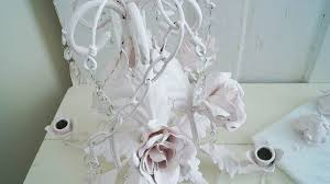 White Shabby Chic Chandelier by Diy Shabby Tole Chandelier White Lace Cottage