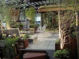 Rooftop Garden Ideas Roof Garden Design Ideas With Metal Chair 1830 Hostelgarden Net