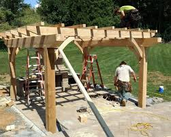 Timber Frame Pergola by Outdoor Fireplace Patio Landscape Company Allentown Pa