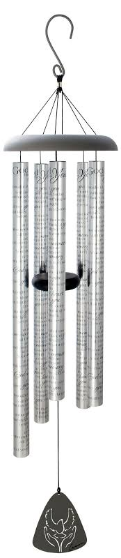 """Carson Home Accents 60259 """"god Has You"""" Poem 44 Inch Sonnet Wind Chime, Silver"""