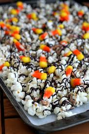 Nut Free Halloween Treats by White Chocolate Candy Corn Popcorn