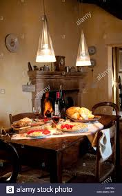 italian country kitchen serving typical italian food and red wine