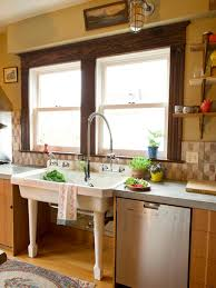 How To Open Kitchen Faucet by Sinks Cottage Kitchen Style Brown Frame Window White Porcelain
