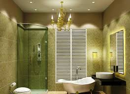 bathroom mirror lighting ideas transparent glass door beige