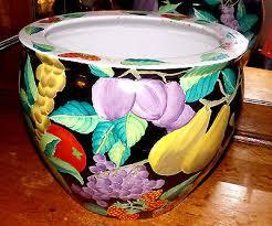 ceramic pottery porcelain fish bowl planter vase pears