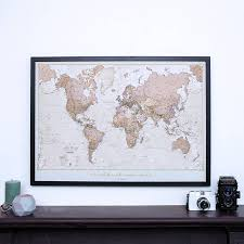 World Map Pinboard by Personalised Antique World Map By Maps International