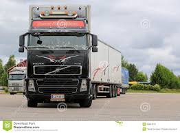 volvo freight trucks black volvo fh16 leaving truck stop editorial stock photo image