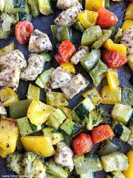 Vegetables by Oven Roasted Chicken And Vegetables Together As Family