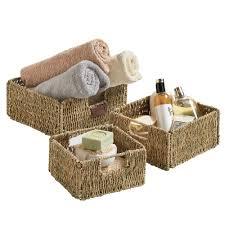 vonhaus set of 3 square seagrass storage organizer baskets with