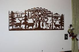 hand crafted deer and mountain scene with 4 majestic bucks large