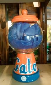 florida gators inspired gumball machine style candy jar football