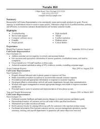 Resume Summary Examples Customer Service by Call Center Customer Service Representative Resume By Natalie Hill