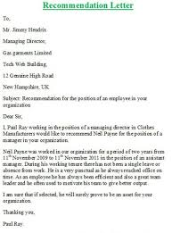 sample recommendation letter from employer   Appeal Letters Sample