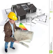 architect planning an energy efficient home royalty free stock