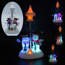 holiday home decor collectible figurines scene with rgb led light