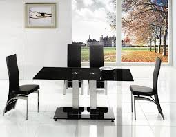 Alba Small Chrome Black Glass Dining Table Modenza Furniture - Black dining table for 4