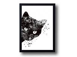 halloween wall art watercolor art print black cat painting cat poster halloween decor