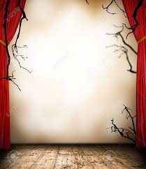 13552034 horror stage with curtain halloween background frame