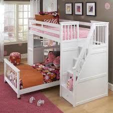 pink painted solid wood little bunk beds with pink cotton bed