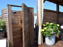 outstanding wooden outdoor small shower room ideas beside