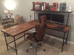 corner desk reclaim wood desk l table solid oak w 28