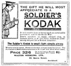 Advertisement for Soldier     s Kodak camera  Reads      The gift he will most appreciate is a National Library of New Zealand