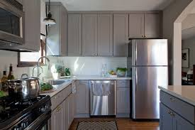 Dark Stained Kitchen Cabinets White Tile Pattern Ceramic Countertops Gray Kitchen Cabinets