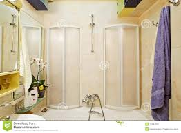 modern small shower bath with shower cubicle stock photo image