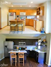 Dark Stained Kitchen Cabinets Cabinet Refinishing 101 Latex Paint Vs Stain Vs Rust Oleum