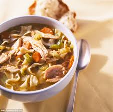 Chicken soup clears congestion and helps the immune system fight