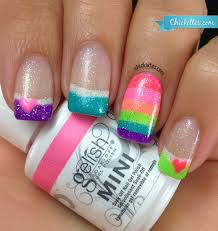 gelish all about the glow u2013 rainbow french nail art u2013 chickettes