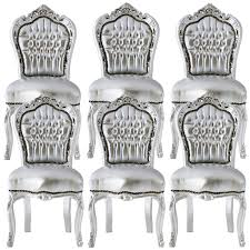 luxurious silver dining room chair set baroque furniture luxury