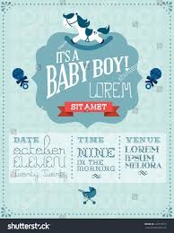 Baby Shower Invitation Cards Templates Baby Boy Baby Shower Invitation Card Stock Vector 123679315