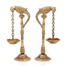 Brass Home Decor by Amazon Com Pair Of Bird Diya Oil Lamp Stand Holder Brass Hindu