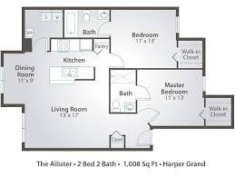 Floor Plan 2 Bedroom Apartment 2 Bedroom Apartment Floor Plans U0026 Pricing U2013 Harper Grand Orlando Fl