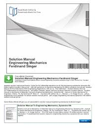 solution manual engineering mechanics ferdinand singer taxes