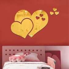 57x97cm 23x39in 3d pvc love heart mirror wall stickers self see larger image