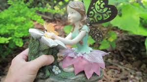 solar garden fairy resin statues palmate patio decor youtube